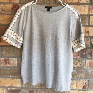 J Crew Grey and Creamy White Lace Tee Size XS